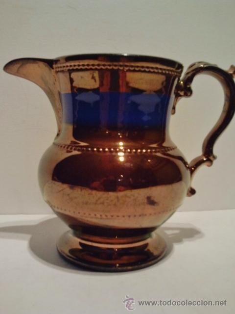 Antigüedades: Jarra de cerámica esmaltada de Bristol, s. XIX. Decorada en azul y reflejo metálico. - Foto 2 - 39065815