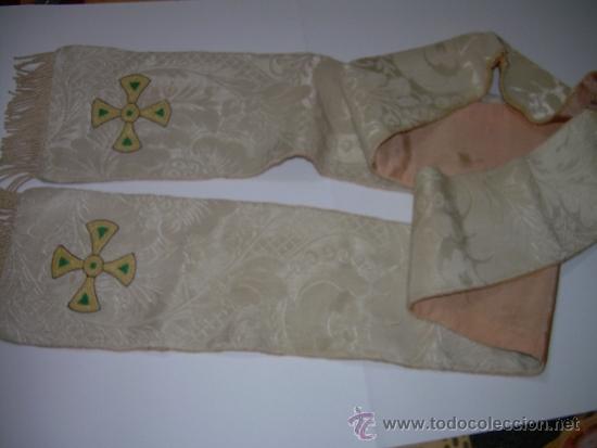 Antigüedades: ANTIGUA ESTOLA DE TELA BORDADA. - Foto 4 - 39071421