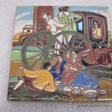 Antigüedades: AZULEJO DE HIJO DE J. MENASQUE DE SEVILLA. Lote 39111752