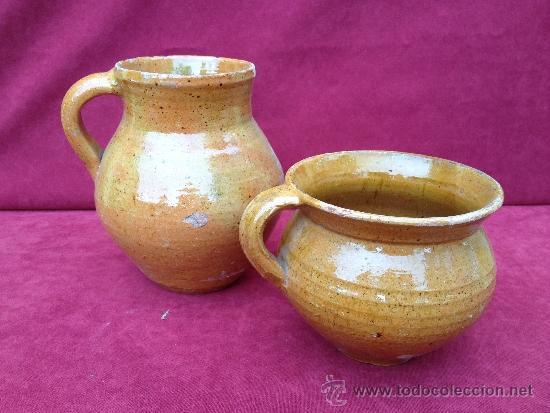 PUCHERO Y JARRA DE CERÁMICA DE TERUEL S.XIX-S.XX (Antigüedades - Porcelanas y Cerámicas - Teruel)
