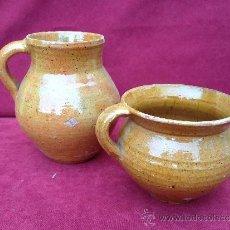 Antigüedades: PUCHERO Y JARRA DE CERÁMICA DE TERUEL S.XIX-S.XX. Lote 39115638