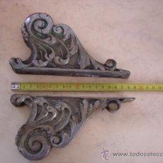 Antigüedades: PAREJA DE EMBELLECEDORES DE ANTIGUA CAMA DE LATON CROMADO. Lote 39122264