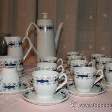 Antigüedades: JUEGO DE CAFÉ AÑO 1969. SAN CLAUDIO. OVIEDO. 2 JARRAS, AZUCARERO, 11 TAZAS, 12 PLATOS.. Lote 39142439