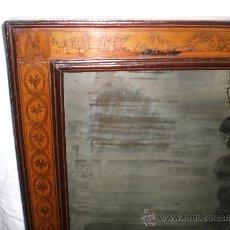 Antigüedades: ESPEJO ANTIGUO, S.XVIII. MAGNIFICO TRABAJO DE MARQUETERÍA. ESCENAS POPULARES. CAOBA Y LIMONCILLO.. Lote 39154458