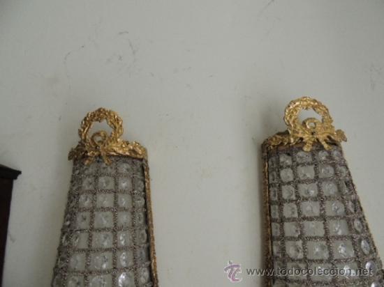 Antigüedades: APLIQUES DE BRONCE DORADO Y CRISTALES Altura 70 cm. - Foto 2 - 119879466