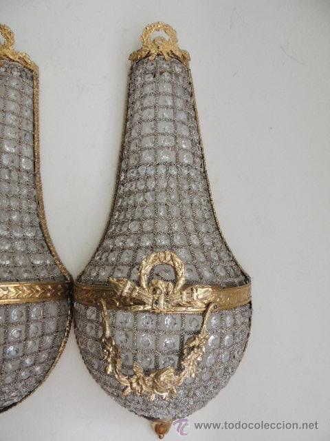 Antigüedades: APLIQUES DE BRONCE DORADO Y CRISTALES Altura 70 cm. - Foto 4 - 119879466