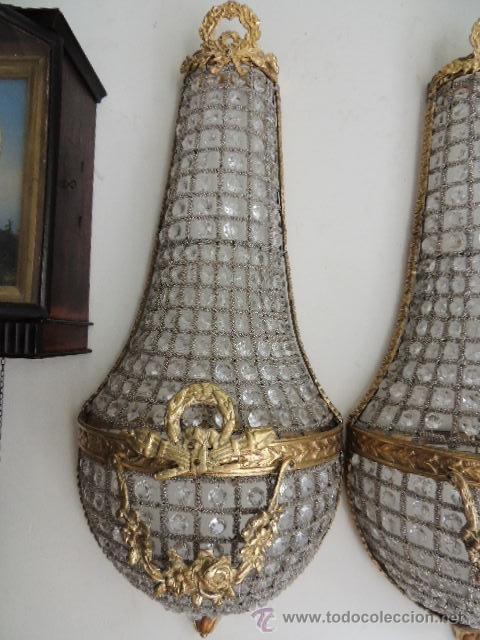 Antigüedades: APLIQUES DE BRONCE DORADO Y CRISTALES Altura 70 cm. - Foto 5 - 119879466