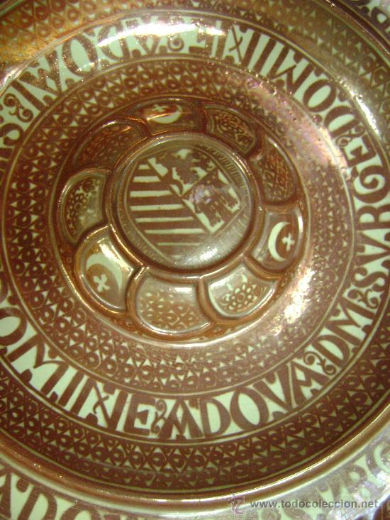 Antigüedades: EXTRAORDINARIO PLATO DE REFLEJO METALICO. MANISES.FABRICA LA CERAMO.50 CTMS DE DIAMETRO - Foto 2 - 39178491