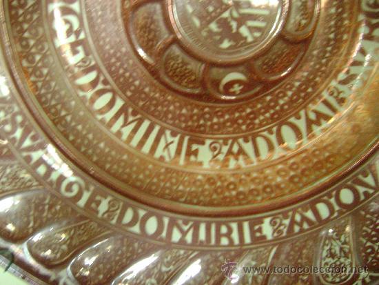 Antigüedades: EXTRAORDINARIO PLATO DE REFLEJO METALICO. MANISES.FABRICA LA CERAMO.50 CTMS DE DIAMETRO - Foto 3 - 39178491