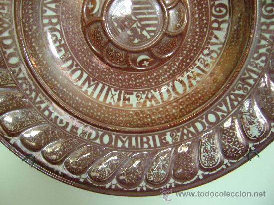 Antigüedades: EXTRAORDINARIO PLATO DE REFLEJO METALICO. MANISES.FABRICA LA CERAMO.50 CTMS DE DIAMETRO - Foto 4 - 39178491