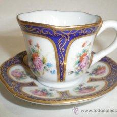 Antigüedades: TACITA DE CAFE Y PLATO - MINIATURA - PORCELANA LIMOGES. Lote 39185448