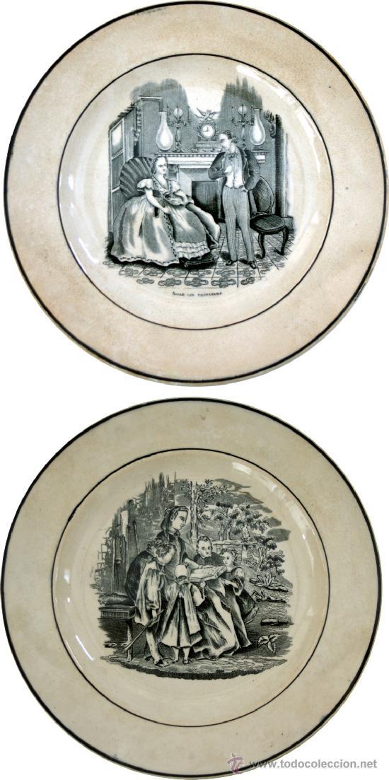 DOS PLATOS DE CARTAGENA CON ESCENAS COSTUMBRISTAS - IMPECABLES - S. XIX (Antigüedades - Porcelanas y Cerámicas - Cartagena)