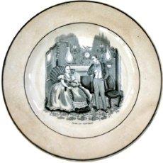Antigüedades: DOS PLATOS DE CARTAGENA CON ESCENAS COSTUMBRISTAS - IMPECABLES - S. XIX. Lote 39183697