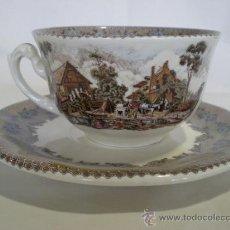 Antigüedades: PLATO Y TAZA DE CAFÉ LA CARTUJA - MODELO VIEJO MOLINO. Lote 58471351