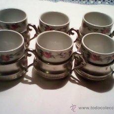 Antigüedades: PRECISO JUEGO DE CAFE EN ESTAÑO Y PORCELANA MARCA TOGNANA MADE ITALY. Lote 39192155