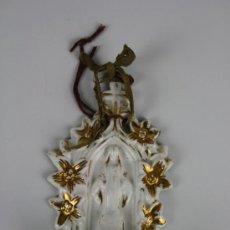 Antigüedades: BENDITERA EN PORCELANA DEL SIGLO XIX CON DORADOS - ÉPOCA ISABELINA - MARCAS 'ML' 291. Lote 39197150
