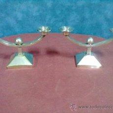 Antigüedades: PAREJA DE CANDELEROS CANDELABROS ART-DECO. Lote 39206971