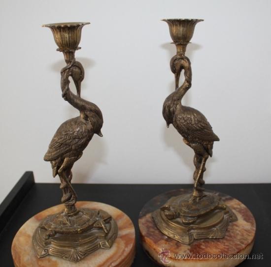 Antigüedades: PAREJA DE CANDELABROS EN BRONCE. 28 X 15 CMS. - Foto 5 - 36401377