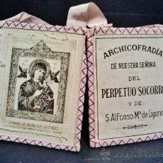 Antigüedades: ESCAPULARIO DE LA ARCHICOFRADÍA DE NUESTRA SEÑORA DEL PERPETUO SOCORRO Y S. ALFONSO Mª DE LIGORIO.. Lote 39253228