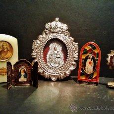 Antigüedades: LOTE DE RELICARIO EN METAL TALLADO Y PLATEADO Y 4 IMÁGENES DE DEVOCIÓN CRISTIANA. . Lote 39253269