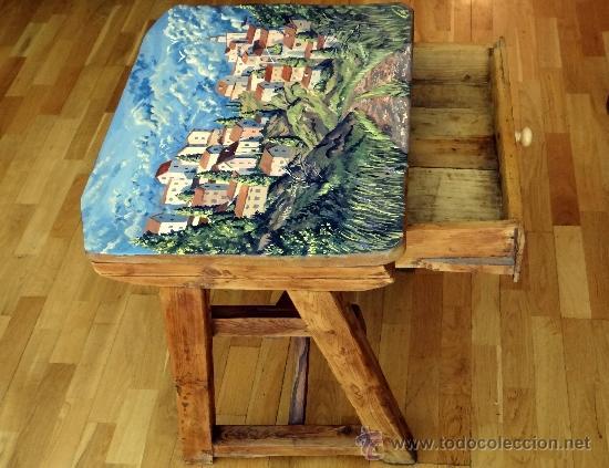 Antigüedades: mesa tocinera, con pueblo pintado, llena de encanto. - Foto 2 - 39262661