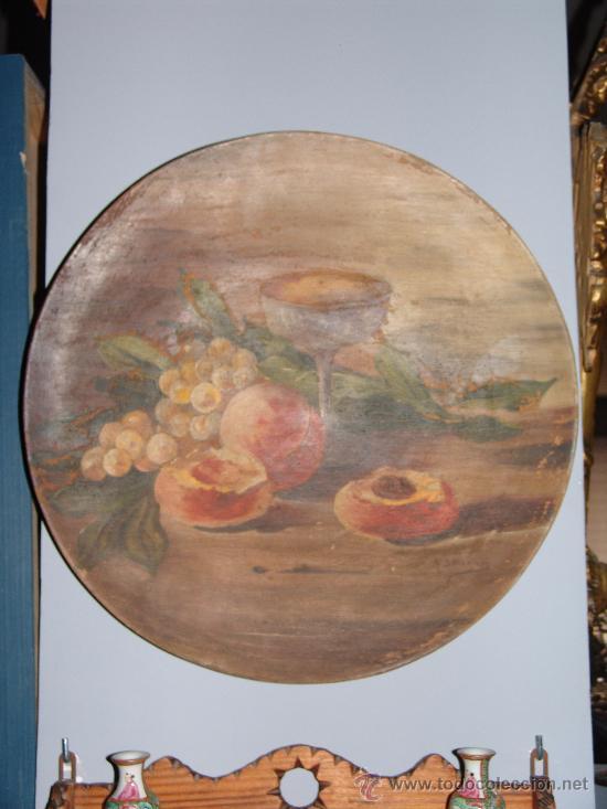 PRECIOSO PLATO DE BARRO PINTADO (Antigüedades - Hogar y Decoración - Platos Antiguos)