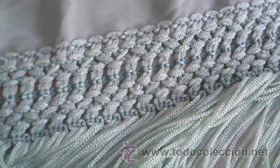 Antigüedades: Precioso pañuelo o manton de seda de color verde liso . - Foto 5 - 39284618