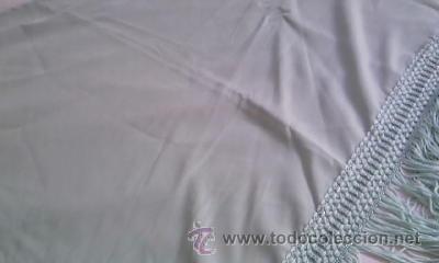 Antigüedades: Precioso pañuelo o manton de seda de color verde liso . - Foto 6 - 39284618