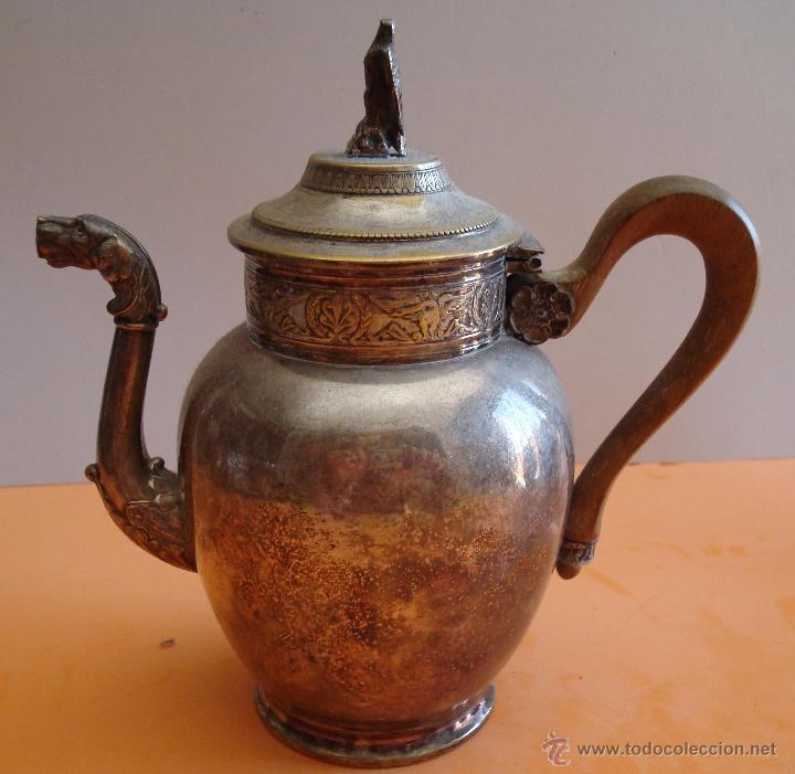 Antigüedades: ANTIGUO JUEGO DE TE EN METAL PLATEADO - Foto 2 - 39301324