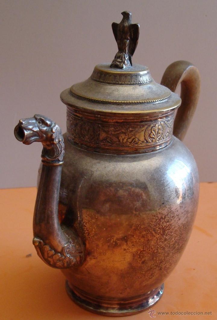 Antigüedades: ANTIGUO JUEGO DE TE EN METAL PLATEADO - Foto 3 - 39301324