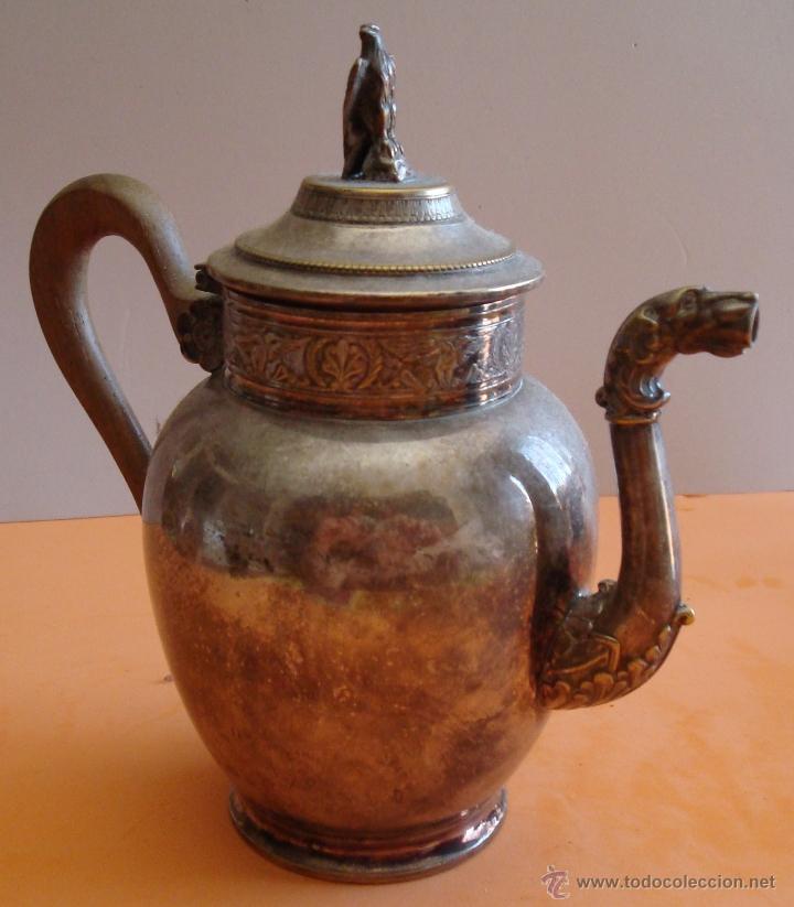 Antigüedades: ANTIGUO JUEGO DE TE EN METAL PLATEADO - Foto 4 - 39301324