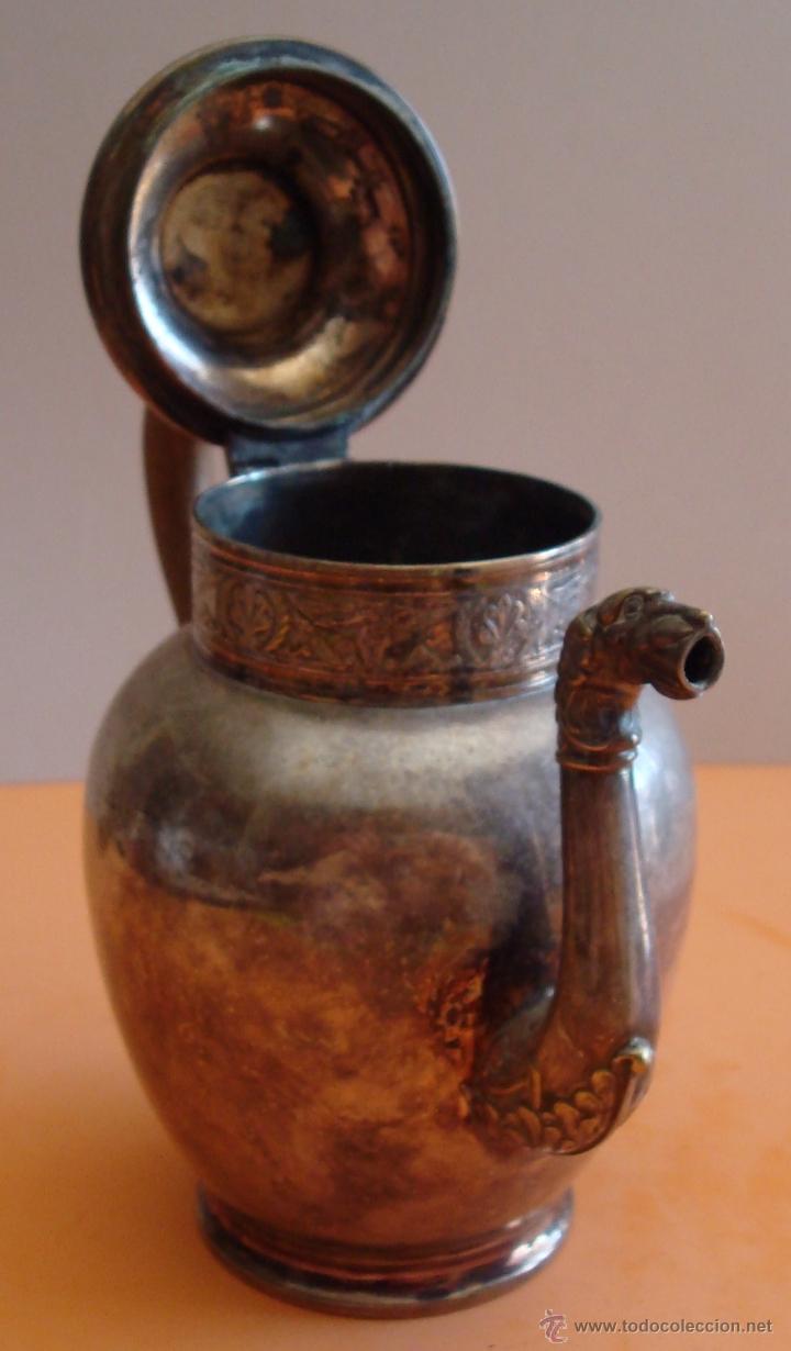 Antigüedades: ANTIGUO JUEGO DE TE EN METAL PLATEADO - Foto 5 - 39301324
