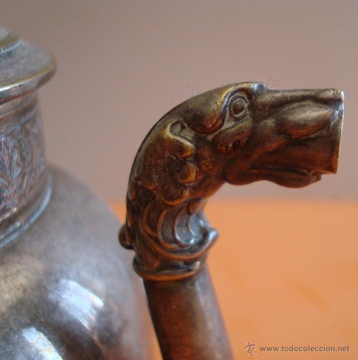 Antigüedades: ANTIGUO JUEGO DE TE EN METAL PLATEADO - Foto 6 - 39301324