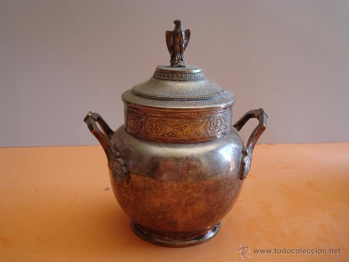 Antigüedades: ANTIGUO JUEGO DE TE EN METAL PLATEADO - Foto 12 - 39301324