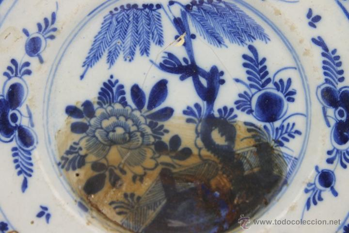 Antigüedades: CONJUNTO DE 4 PLATOS DELFT EN PORCELANA POLICROMADA S. XVIII. - Foto 5 - 41518099