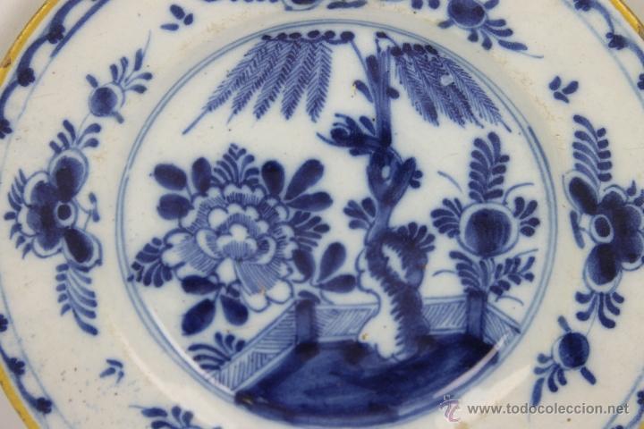 Antigüedades: CONJUNTO DE 4 PLATOS DELFT EN PORCELANA POLICROMADA S. XVIII. - Foto 7 - 41518099