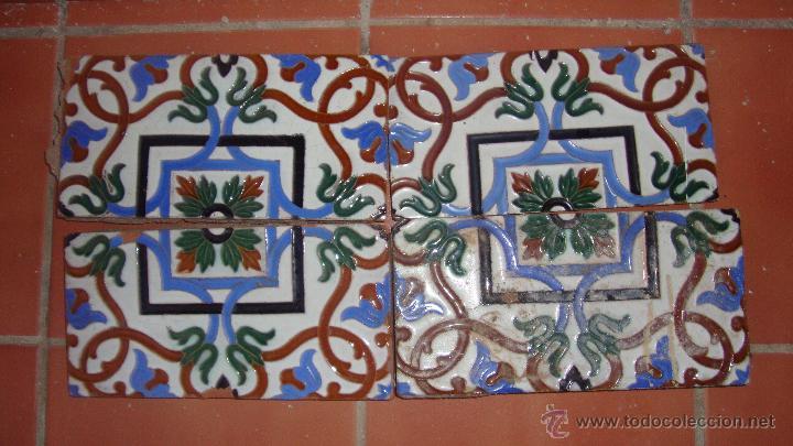 DOS PAREJAS DE AZULEJOS RAMOS REJANO (Antigüedades - Porcelanas y Cerámicas - Azulejos)