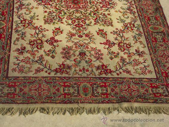 Antigüedades: Bonita y elegante alfombra para comedor o salón, en tonos rojos y crema, de conservación - Foto 3 - 39308686