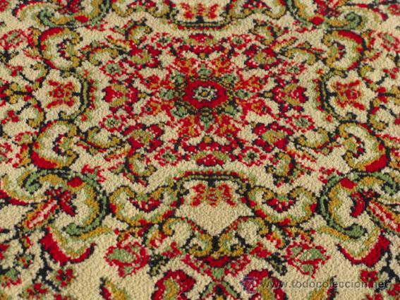Antigüedades: Bonita y elegante alfombra para comedor o salón, en tonos rojos y crema, de conservación - Foto 4 - 39308686
