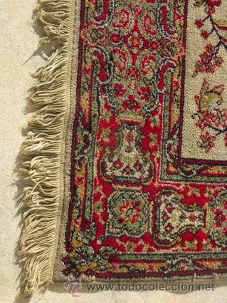 Antigüedades: Bonita y elegante alfombra para comedor o salón, en tonos rojos y crema, de conservación - Foto 6 - 39308686