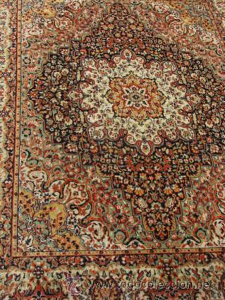 Antigüedades: Gran y elegante alfombra para comedor o salón, en tonos naranja y azul marino, buy bonita. - Foto 2 - 39308592