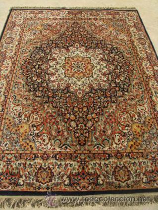 Antigüedades: Gran y elegante alfombra para comedor o salón, en tonos naranja y azul marino, buy bonita. - Foto 3 - 39308592