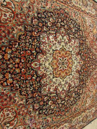 Antigüedades: Gran y elegante alfombra para comedor o salón, en tonos naranja y azul marino, buy bonita. - Foto 4 - 39308592