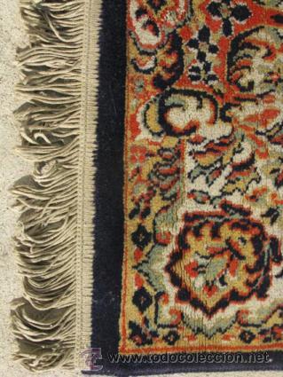 Antigüedades: Gran y elegante alfombra para comedor o salón, en tonos naranja y azul marino, buy bonita. - Foto 5 - 39308592