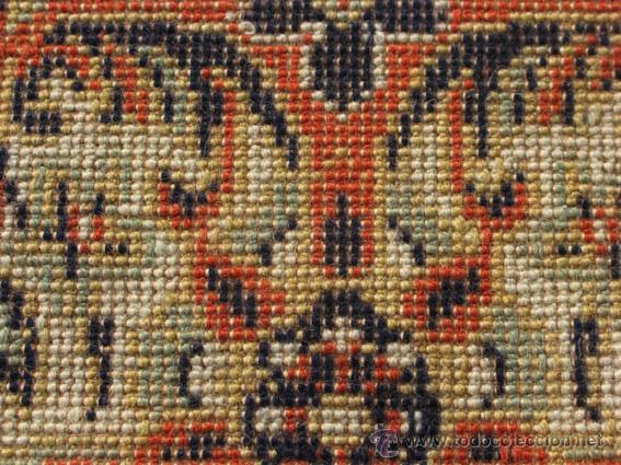 Antigüedades: Gran y elegante alfombra para comedor o salón, en tonos naranja y azul marino, buy bonita. - Foto 6 - 39308592