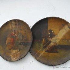Antigüedades: PAREJA DE PLATOS DE LATON ANTIGUOS. Lote 39323584