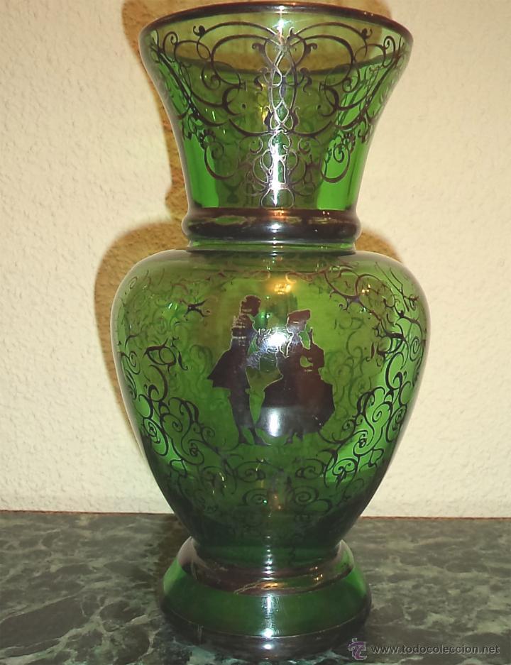 Antiguo florero o jarron en cristal verde y dec comprar for Jarron cristal decoracion