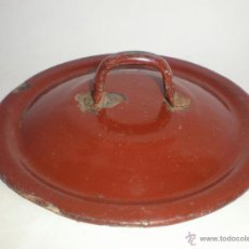 Antigüedades: TAPADERA PARA OLLA CON ASA, DE METAL ESMALTADO, DIÁMETRO: 5,7 CM.. Lote 39386734