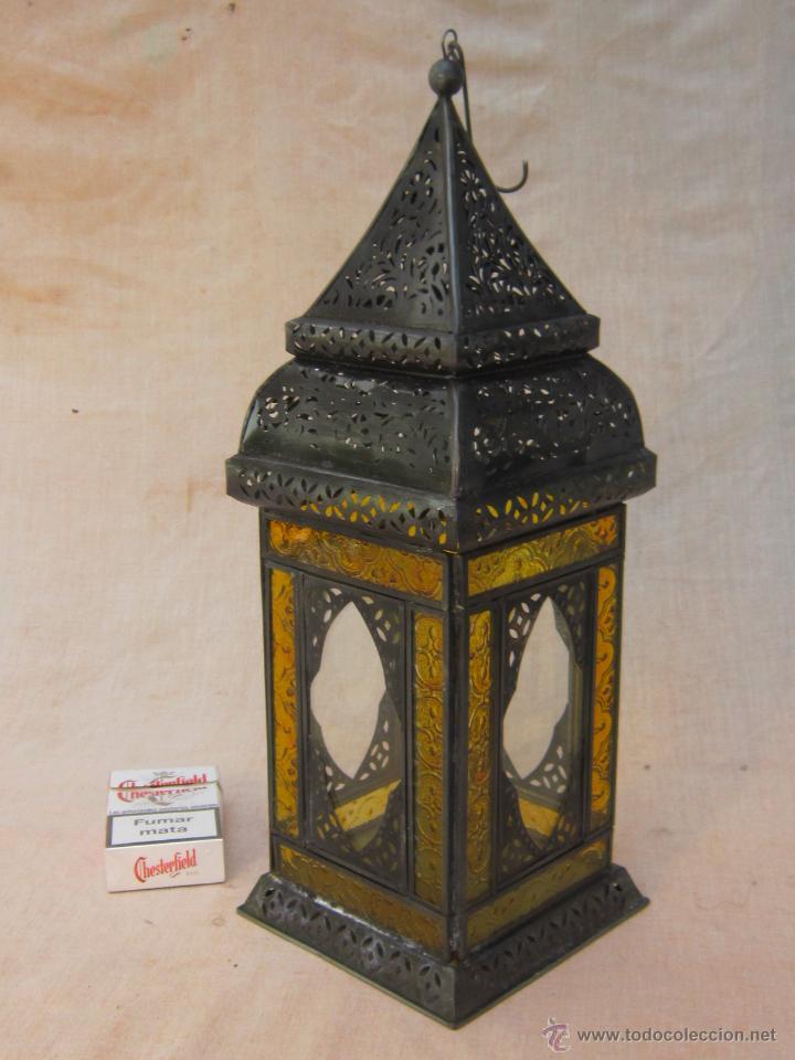 LAMPARA FAROL DE VELA EN METAL Y CRISTALES (Antigüedades - Iluminación - Faroles Antiguos)