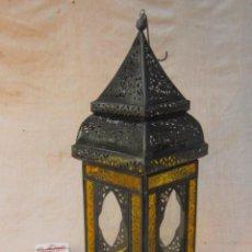 Antigüedades: LAMPARA FAROL DE VELA EN METAL Y CRISTALES. Lote 54662943